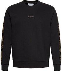 gold logo sweatshirt sweat-shirt trui zwart calvin klein