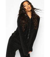borg zip through oversized hoodie