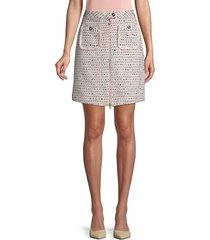 karl lagerfeld paris women's front-zip tweed skirt - sherbert - size 10