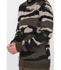 suéter opera rock tricot camuflado verde