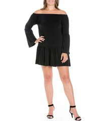 plus size fearless off the shoulder bell sleeve mini dress