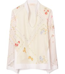 women's tory burch embroidered handkerchief cotton & silk tunic top