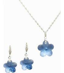 conjunto floral con swarovski aqua joyas montero