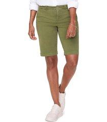 women's nydj stretch cotton blend twill bermuda shorts, size 4 - green
