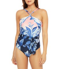 women's la blanca ombre print belted one-piece swimsuit