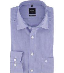 olymp luxor overhemd streep blauw wit strijkvrij