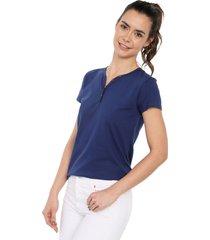 camiseta con botones de mujer licrada-azul oscuro polovers