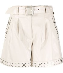 twin-set studded belted shorts - neutrals