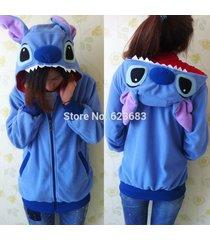 new winter cute cartoon unisex blue stitch hoodie ears hooded coat jacket warm