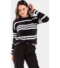 danica striped pullover sweater - black/white