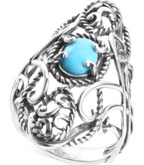 carolyn pollack turquoise (6 x 8mm) large openwork statement ring in sterling silver