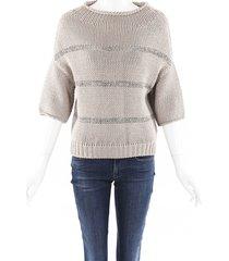 brunello cucinelli striped knit sweater beige sz: xl