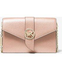 mk borsa a tracolla convertibile media in pelle saffiano metallizzata - ballet (rosa) - michael kors