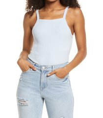 women's bp. picot trim cotton blend rib bodysuit, size medium - blue