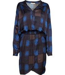 geometric wrapover short dress jurk knielengte blauw rabens sal r