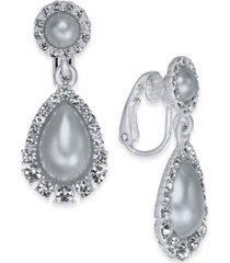 charter club crystal & imitation pearl clip-on drop earrings, created for macy's