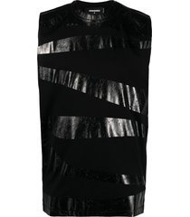 dsquared2 coated cotton vest - black