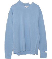 soft lambswool cutout neckband pullover in sky blue