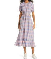 women's likely payson side cutout plaid midi dress, size 6 - purple
