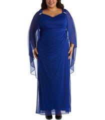 r & m richards plus size chiffon-cape gown