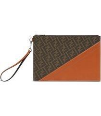fendi panel detail ff-print clutch bag - brown