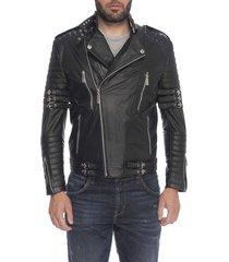 chaqueta de cuero negro patra