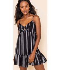 women's alex vertical stripe mini dress in black/white by francesca's - size: l