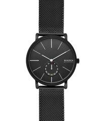 skagen men's hagen black stainless steel mesh bracelet watch 40mm