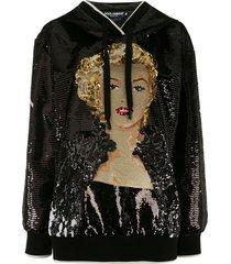 dolce & gabbana marilyn monroe sequin hoodie - black