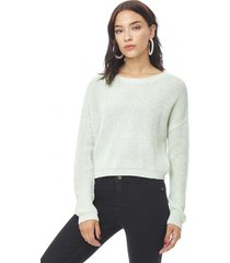 sweater crop mujer ecru melange corona
