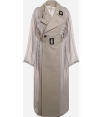 maison margiela cotton trench coat with cupro inserts