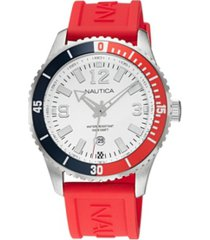 nautica men's analog red silicone strap watch 44 mm