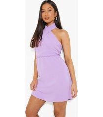 petite gekruiste linnen look mini jurk, lilac