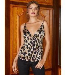 yoins correas de hombro ajustables abrigo de leopardo diseño camisola anudada
