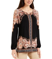 jm collection petite paisley-print stud-detail top, created for macy's