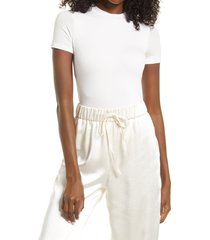 naked wardrobe jersey t-shirt bodysuit, size large in off white at nordstrom