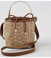 bolsa bucket feminina transversal pequena em palha caramelo
