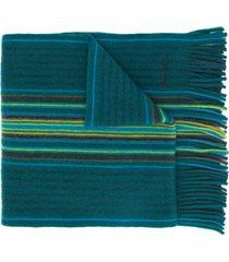 paul smith striped fine knit scarf - green