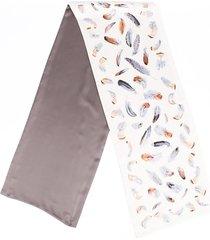 hermes feather silk scarf blue/gray sz: