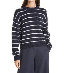women's vince stripe crewneck sweater, size xx-small - blue