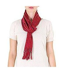 cotton scarf, 'scarlet antigua' (guatemala)