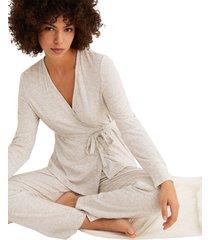 pijama larga cruzada, con pantalón acampanado multicolor women secret 462710544xl