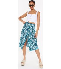 womens floral belted midi skirt - green