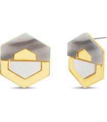 catherine malandrino women's grey geo shaped stud earrings