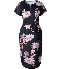 vestido de playa manga corta con cuello en v femenino-negro