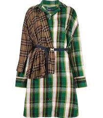 kolor patchwork check shirt dress - multicolour