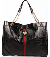 gucci rajah black leather web stripe tote bag black/multicolor sz: n