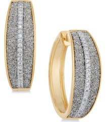 diamond glitter hoop earrings (1/5 ct. t.w.) in 18k gold-plated sterling silver