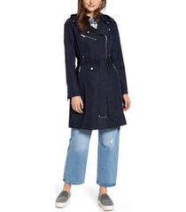 women's avec les filles water resistant moto detail trench coat, size medium - blue