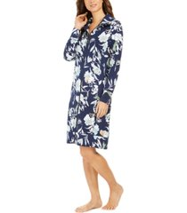 sesoire floral-print french terry short zipper robe